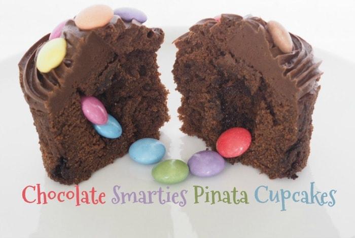 Chocolate Smarties Pinata Cupcakes