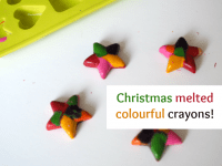 Christmas melted colourful crayons....