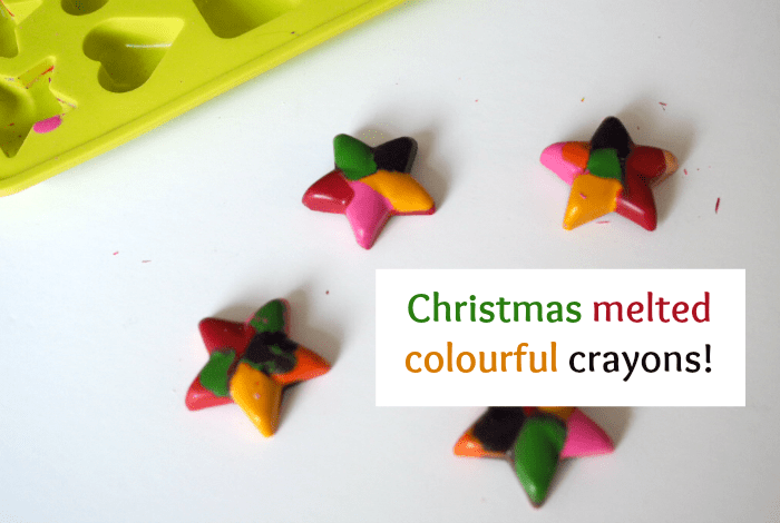 Christmas melted colourful crayons