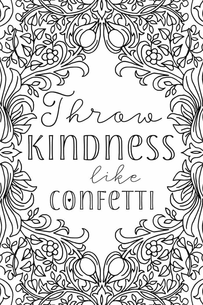 Uplifting colouring sheet - throw kindness like confetti