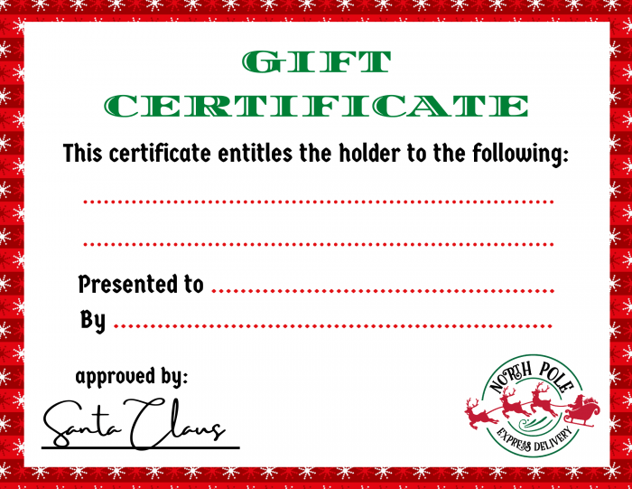 Christmas Printable Gift Certificates