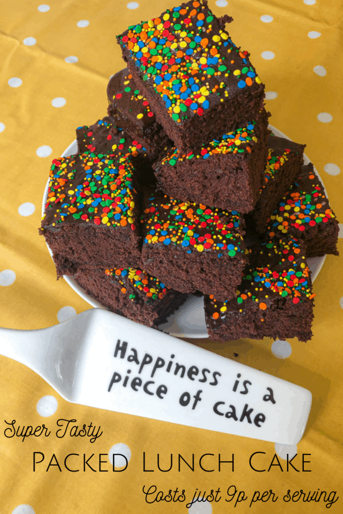 This amazing packed lunch cake not only looks fab and tastes great, but it's also super frugal as it costs from as little as 8p per slice to make. #backtoschool #sweettreats #cake #packedlunchideas