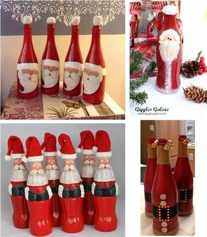 DIY Cute Christmas Bottle Santa