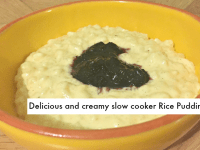 Homemade delicious and creamy slow cooker rice pudding....
