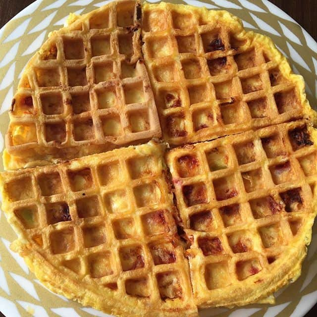 Delicious omelette made in the waffle maker