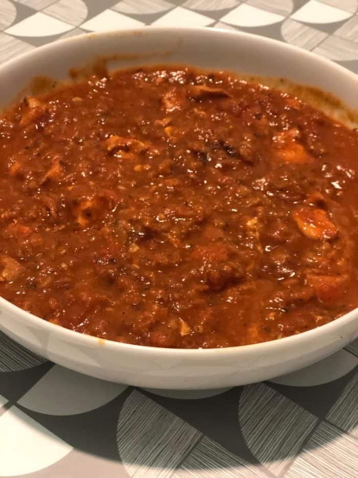 Slow cooker chicken curry bulked out with lentils.