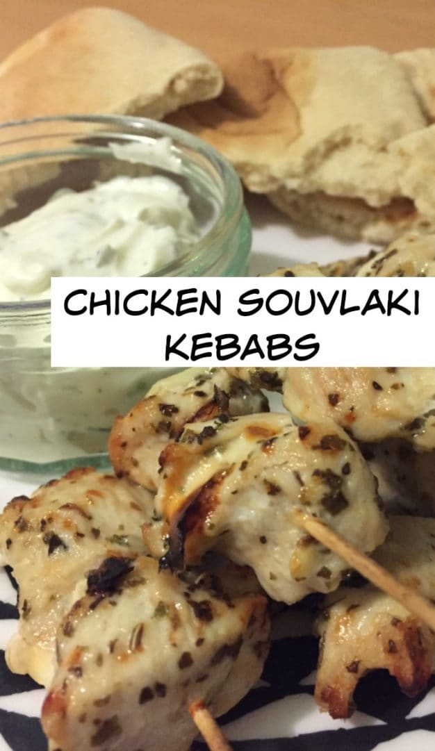Easy to make and delicious to eat green inspired Chicken souvlaki kebabs