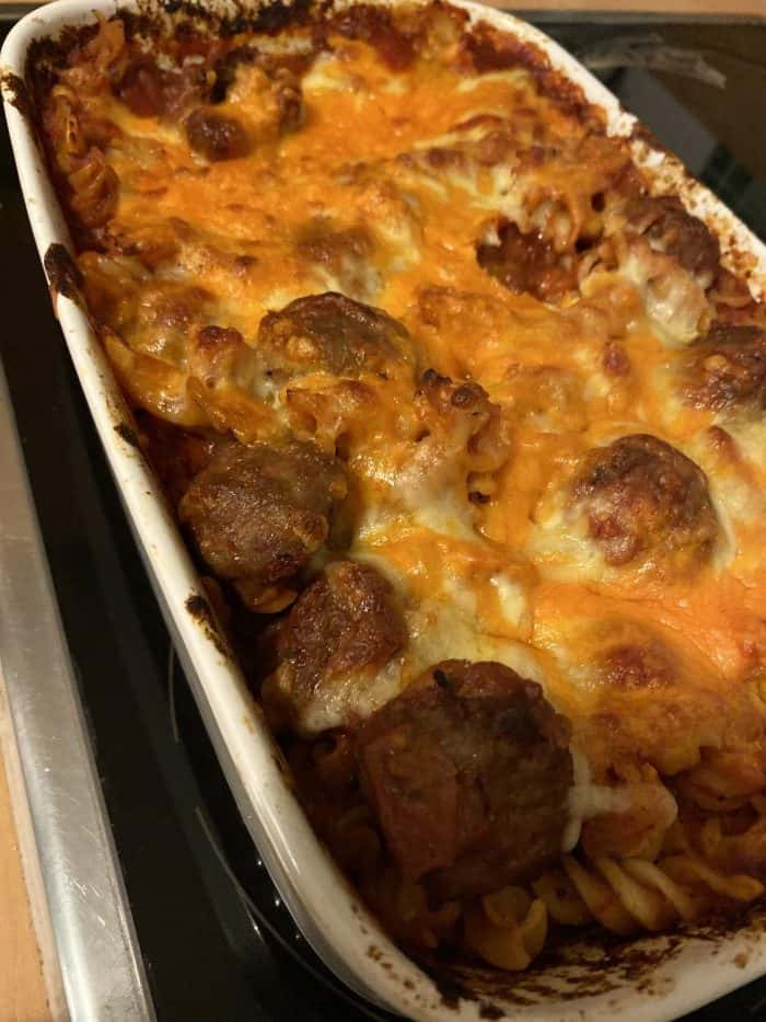 Meatball and pasta bake.