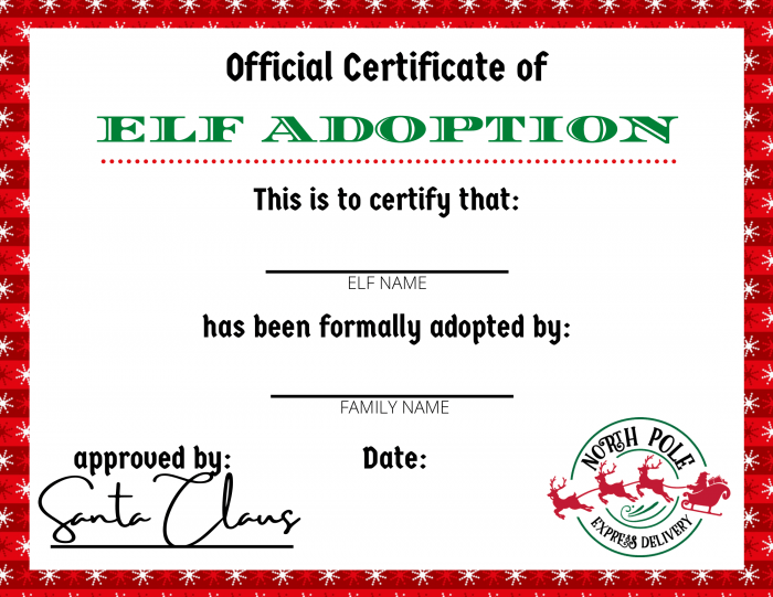 Elf Adoption Certificate