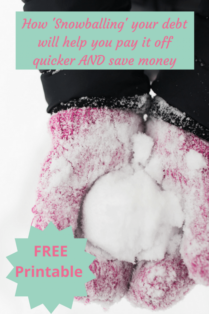 How 'Snowballing' your debts will help you pay them off quicker AND save you money.... This post includes a free printable tracker to help you!
