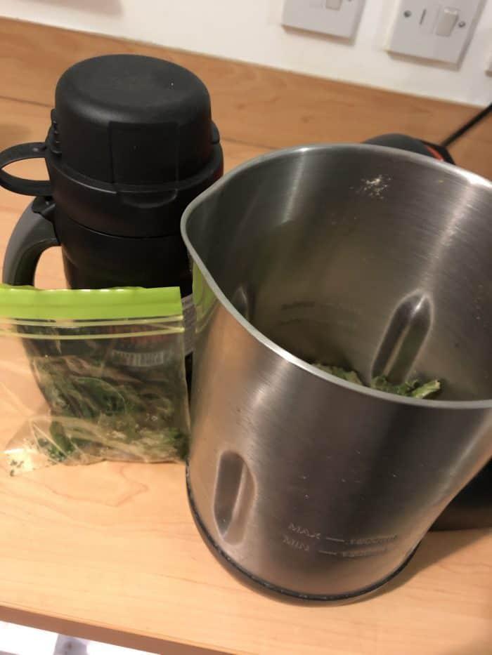 Pea, potato and mint soup