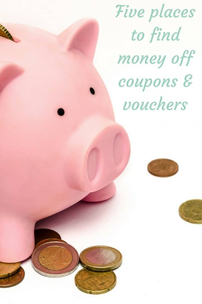 Five places to find money off coupons and vouchers. Helping you to save money and manage your budget better.