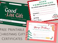 Free Christmas Printable Gift Certificates....