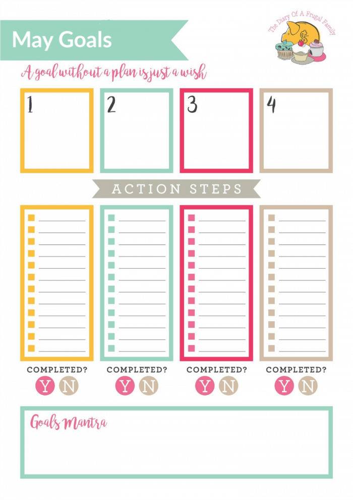 Free Printable - May Goals tracker...
