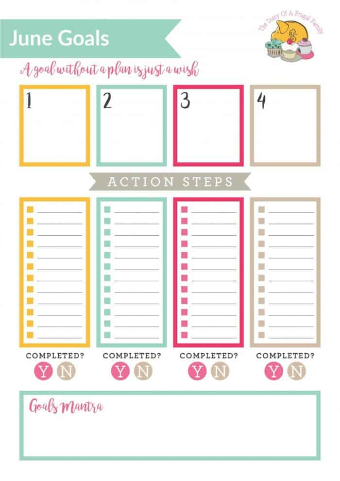 Free Printable goals tracker fro June