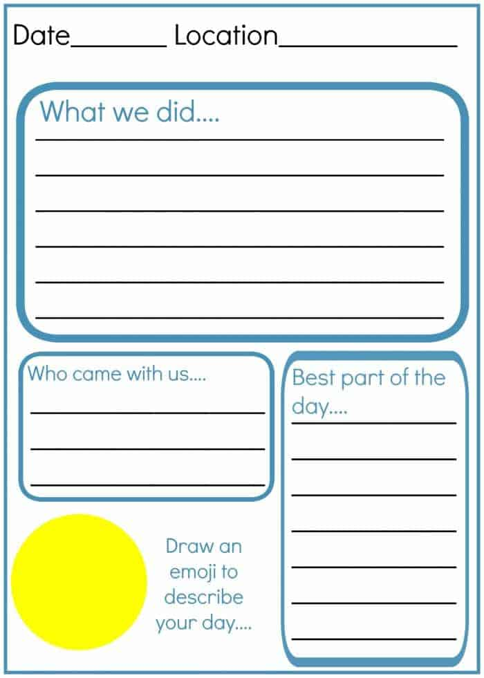 How to  make and write an amazing kids travel journal! With a free printable worksheet with travel journal prompts for children....