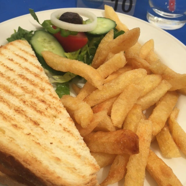 Ham and cheese toastie at the Vrissaki Beach Hotel