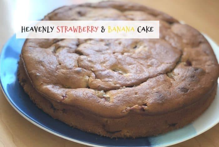 Heavenly strawberry and banana cake