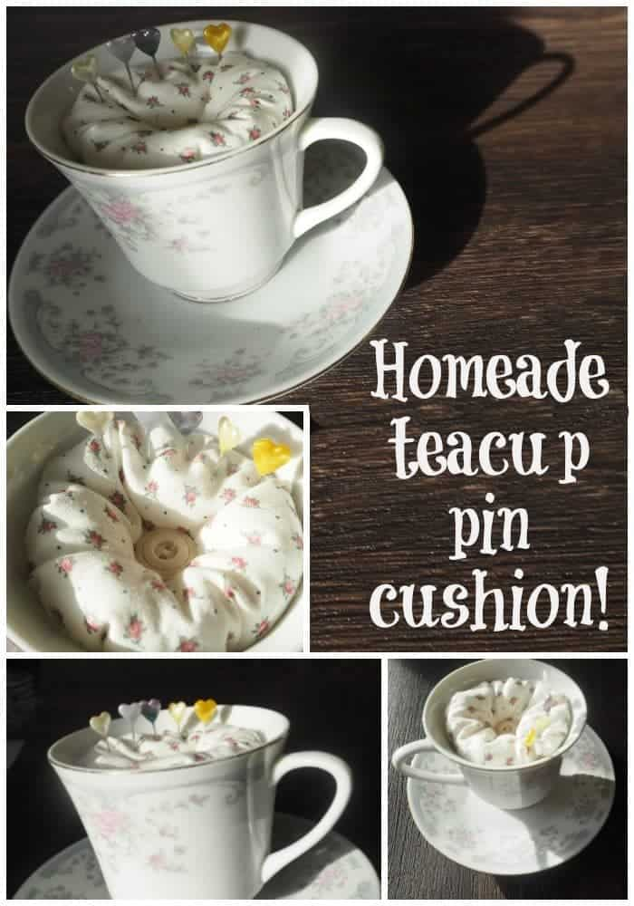 Homemade teacup pin cushion!