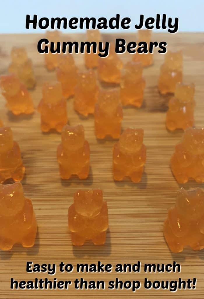 Homemade Jelly Gummy Bears. Healthy treats that are easy to make. #kidsinthekitchen #healthytreats