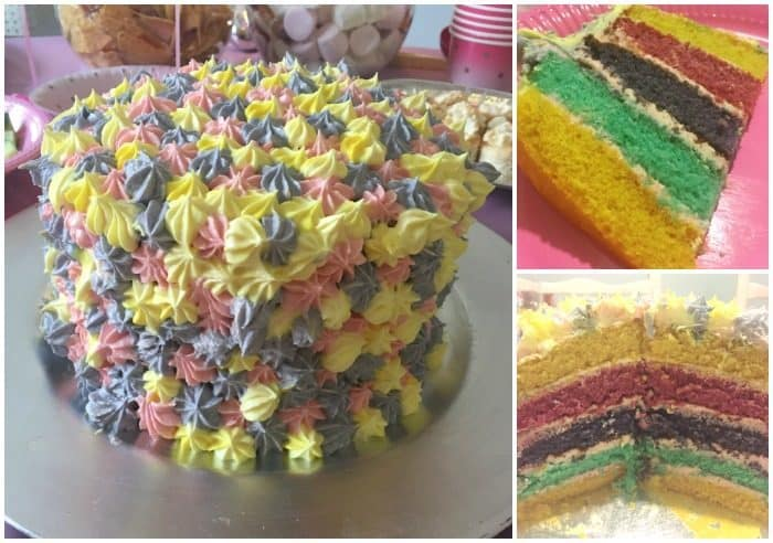 Homemade Rainbow Layer Birthday Cake....