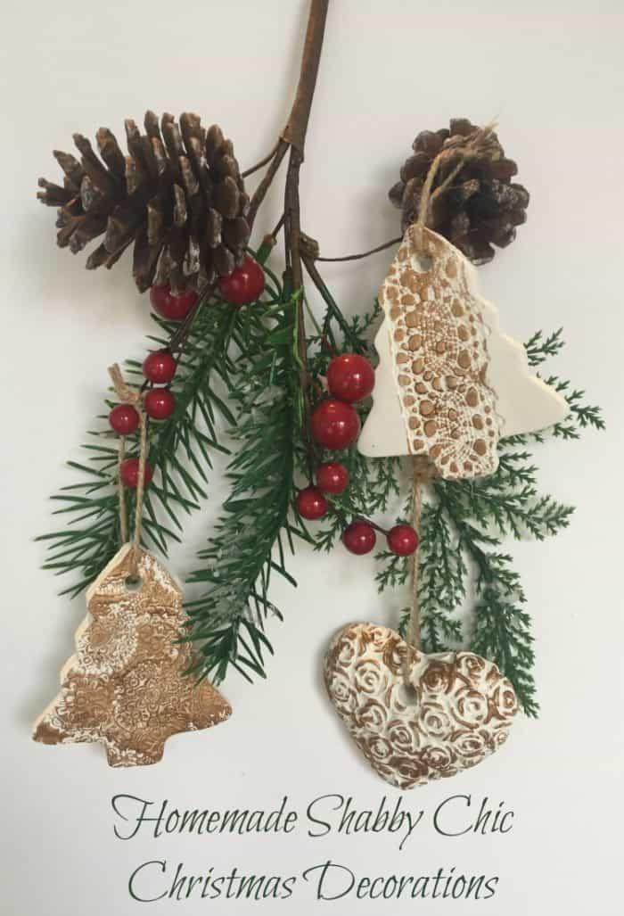 Amazing Homemade shabby chic Christmas decorations. #KidMadeXmasDecs