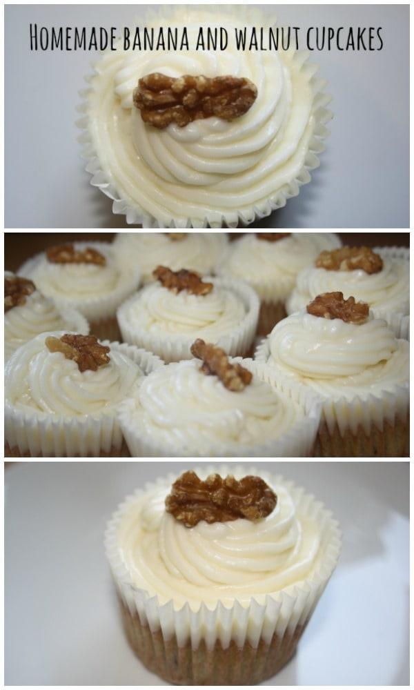 Homemade banana and walnut cupcakes