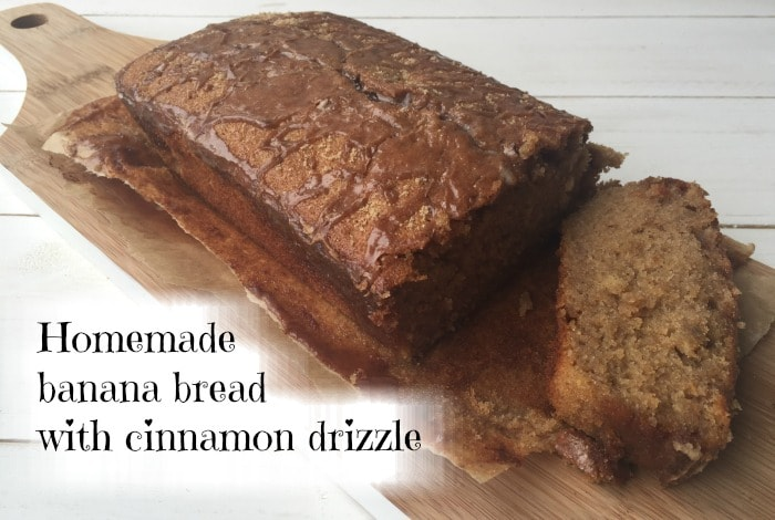 Homemade banana bread with cinnamon drizzle....