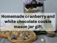 Homemade cranberry and white chocolate cookie mason jar gift....