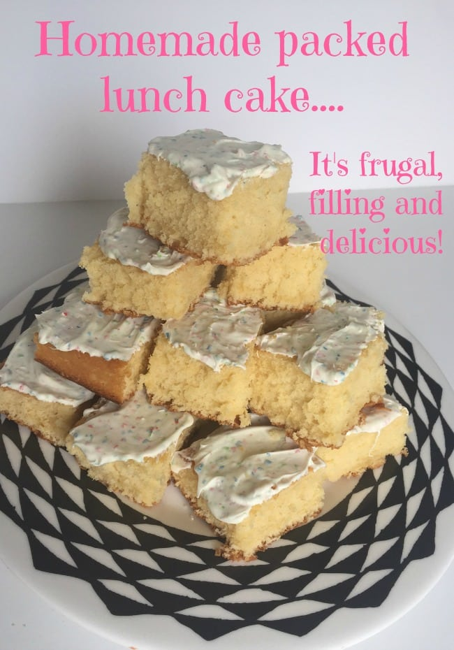 Homemade packed lunch cake - it's cheap, frugal and filling and my kids love a piece of this in their school packed lunches. It works out at around 6p a square which is greta value for money!