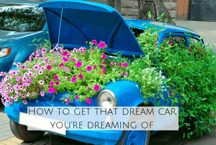 Car with plants in.