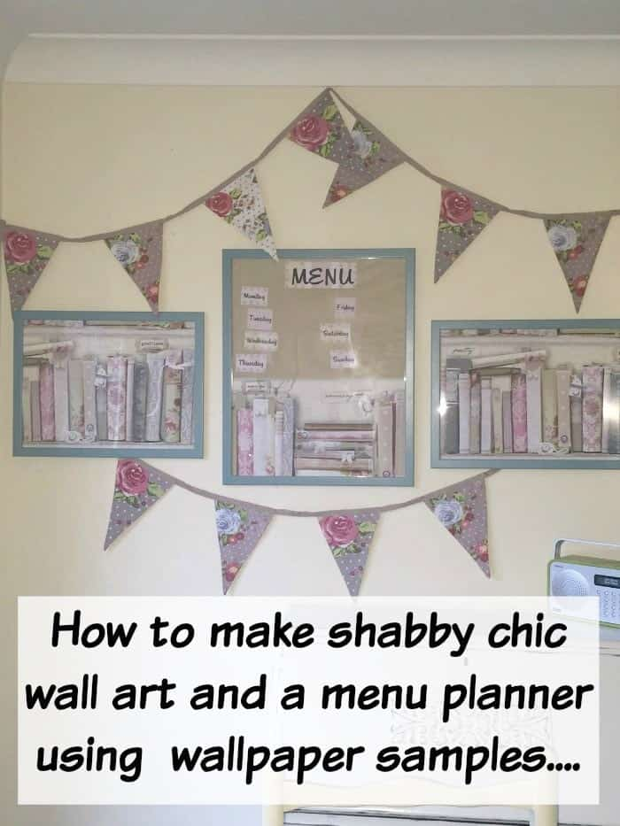 How to make shabby chic wall art and a menu planner using  wallpaper samples....