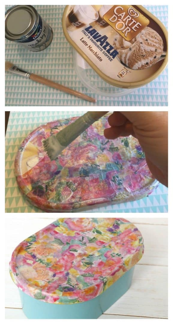 How to upcycle an empty ice cream carton into a pretty gift or storage box....
