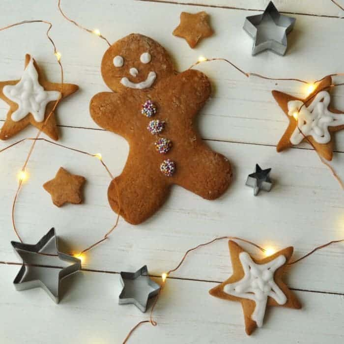 Gingerbread man and fairy lights