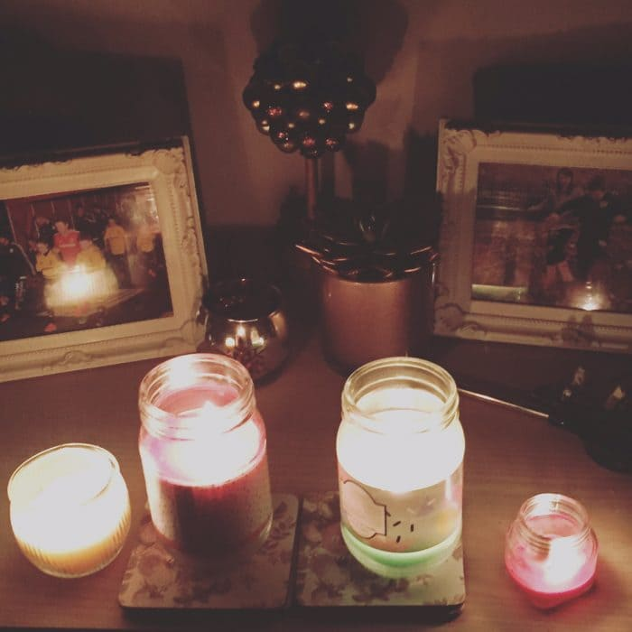 Candles in a black out