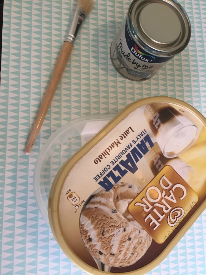 upcycle an empty ice cream carton