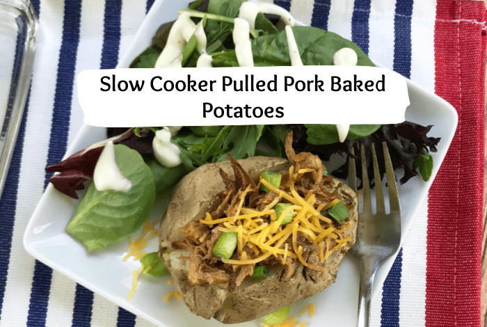 Slow cooker Pulled Pork Baked potatoes are an amazing way to use up leftovers pulled pork. It's a great family meal on a budget! #budget #mealplanning #familymeals #mealsonabudget