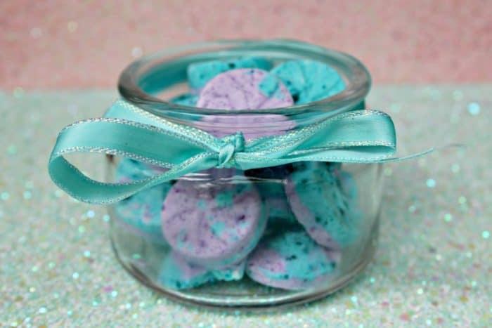 Homemade mermaid bath bombs