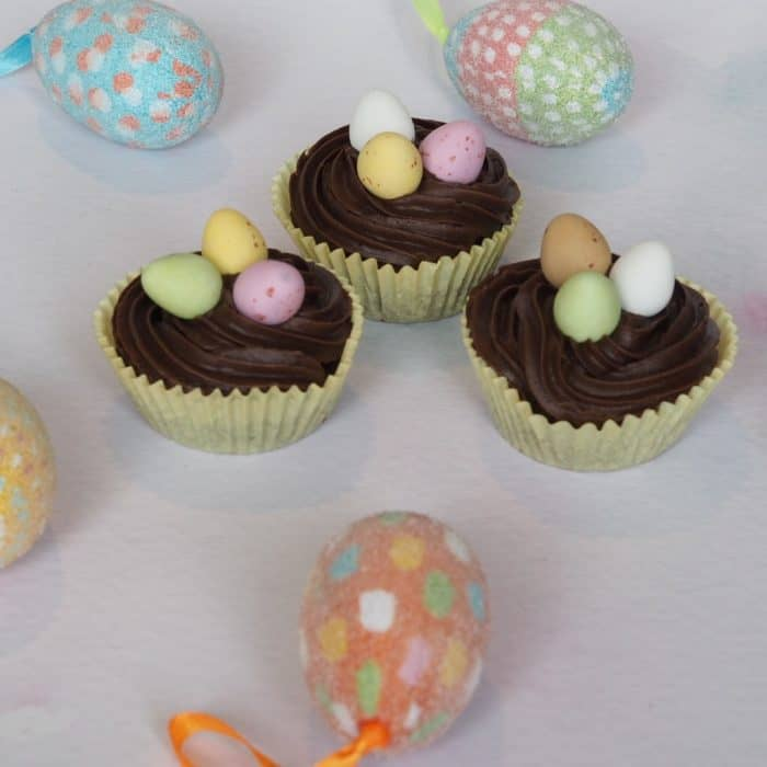 Chocolate cupcakes using mini eggs