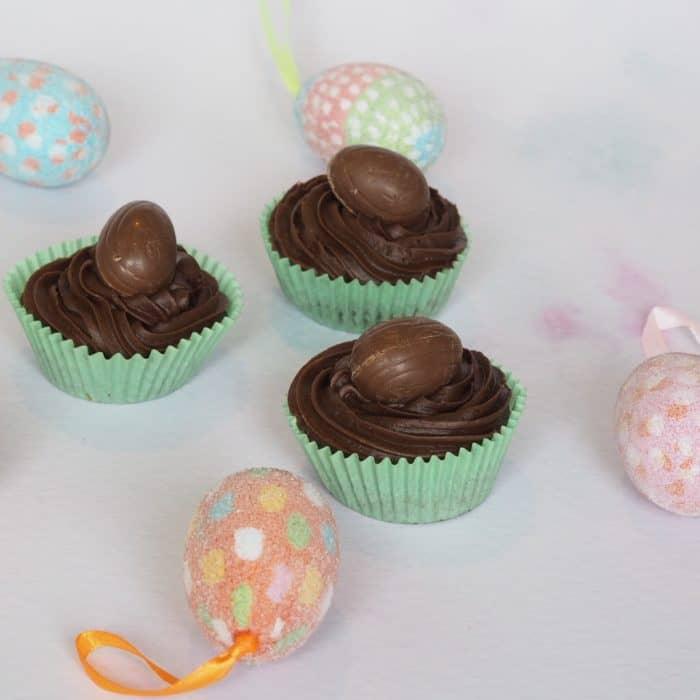 Chocolate cupcakes using creme eggs