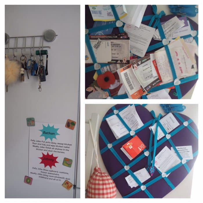 Kitchen noticeboard - before and after