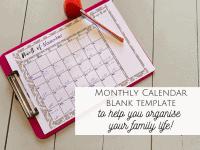 Monthly Blank Calendar Template...