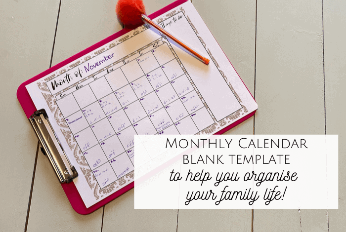 Monthly Blank Calendar Template