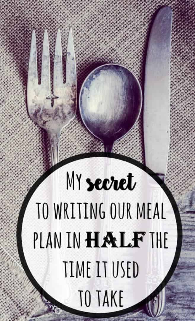 My secret to writing our meal plan in half the time it used to take....