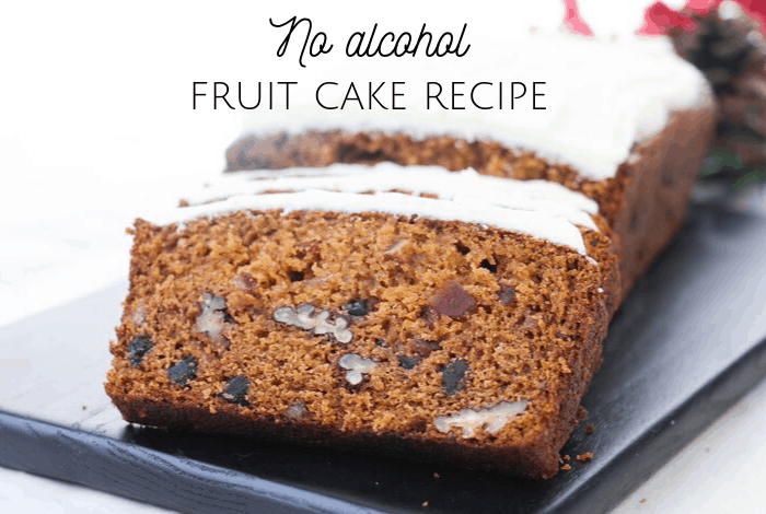 No alcohol fruit cake recipe.