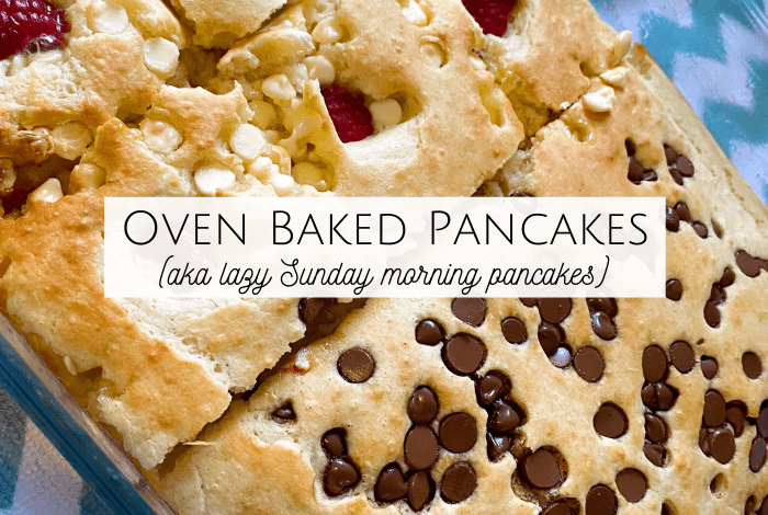 This recipe for oven baked pancakes is exactly what you need. Honestly, you'll try it once and love it so much you'll never make pancakes in a pan again!