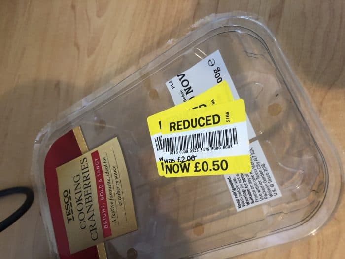 Reduced price fresh cranberries