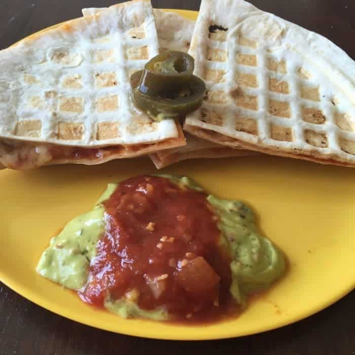 Quesadillas made in the waffle maker....