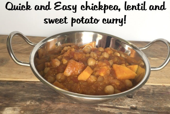 Quick and Easy chickpea, lentil and sweet potato curry!