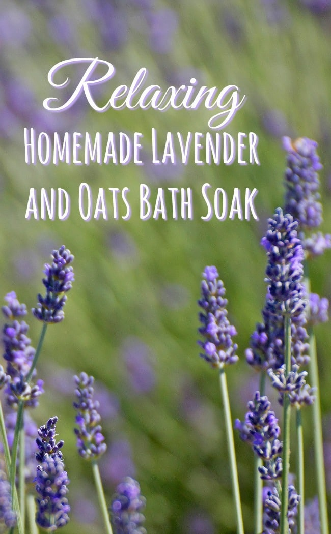 Relaxing Homemade Lavender and Oats Bath Soak.